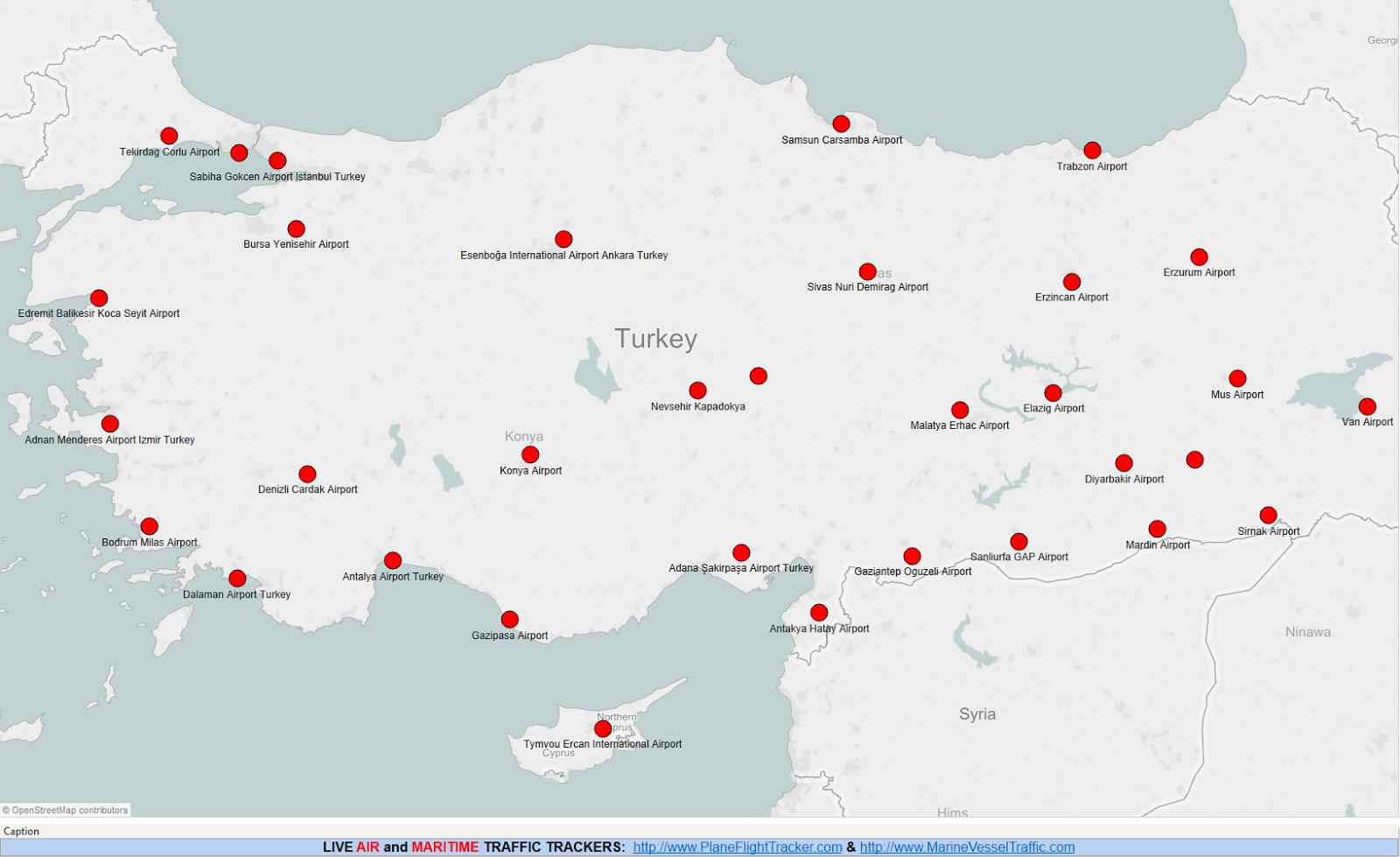 kart over flyplasser i tyrkia Flyplassene i Tyrkia kart   Kart over Tyrkia flyplasser (Vest Asia  kart over flyplasser i tyrkia