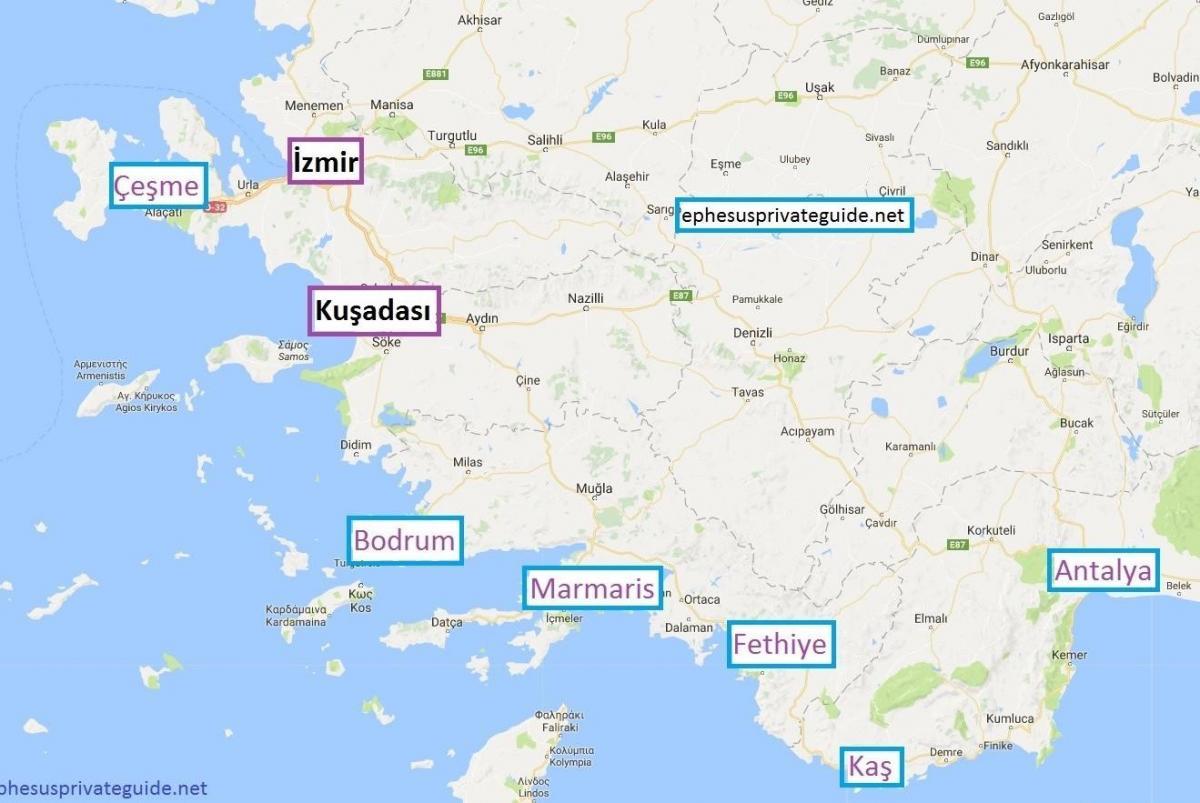 tyrkia kart norsk Kart over Tyrkia holiday resorts   Kart over Tyrkia holiday  tyrkia kart norsk