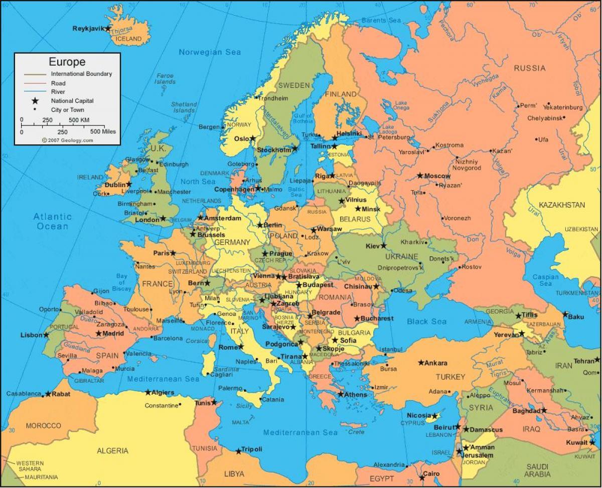 europa kart Kart over Tyrkia og europa   Kart over Tyrkia og europa (Vest Asia  europa kart