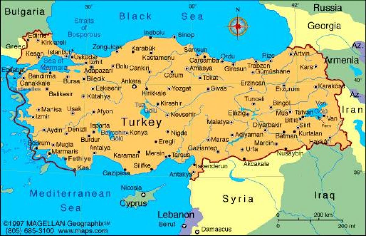 tyrkia kart Moderne Tyrkia kart   Moderne Tyrkia kart (Vest Asia   Asia)