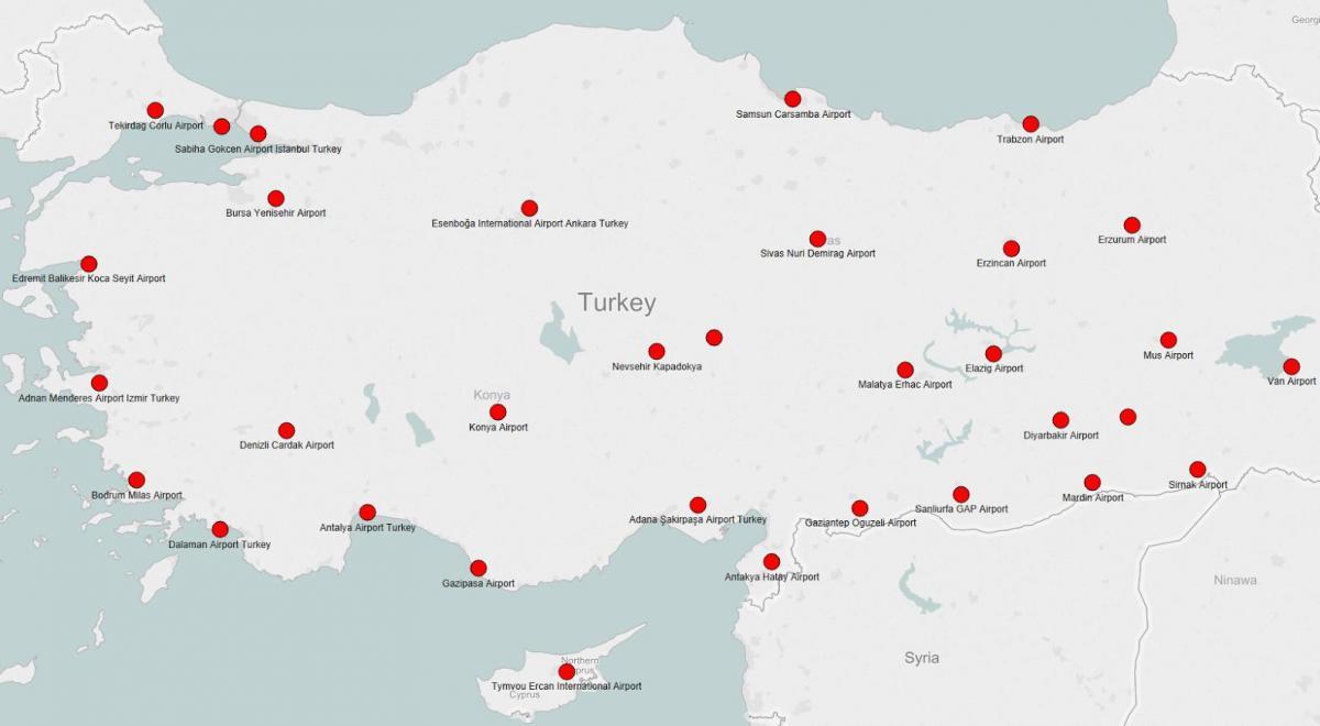 kart over flyplasser i tyrkia Tyrkia flyplassen kart   Kart over Tyrkia viser flyplasser (Vest  kart over flyplasser i tyrkia
